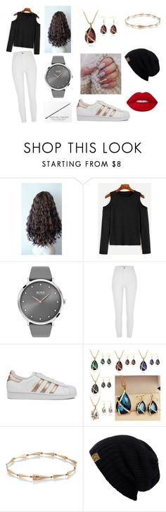 """""""Outfit #45"""" by mojo582 ❤ liked on Polyvore featuring BOSS Black, River Island, adidas, Eva Fehren and Lime Crime"""