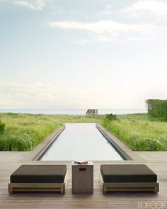 By the Pool at a Southampton Beach House. Modern Landscape Design, Modern Landscaping, Backyard Landscaping, Minimalist Landscape, Backyard Patio, Landscaping Ideas, Backyard Ideas, Luxury Swimming Pools, Dream Pools