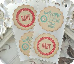 Baby / Welcome to the World Red/Aqua Label by LittlePaperFarmhouse, $5.50