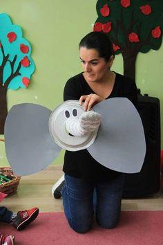 Şakacı fil hikaye anlatımın da kullandim yapımı çok basit malzeme kagit tabak çorap karton