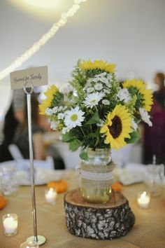 sunflowers with burlap and lace | sunflowers, asters, daisy mums, burlap, lace. | For my wedding some...