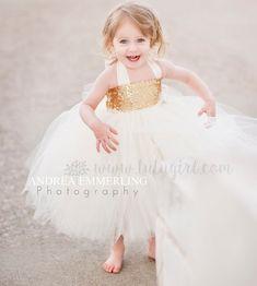 Sequin Flower Girl Tutu Dress | Custom Gold or Silver Glitter