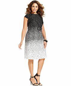 Spense Plus Size Cap-Sleeve Dot-Print A-Line Dress #plussizedresses #plussizefashion #plussizeclothes