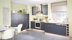 Küchen Meyer fronten in platinblau echtglas matt kombiniert mit beigegrauem
