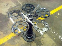 Motorcycle Parts Coffee Table / End Table. Use old Car Parts