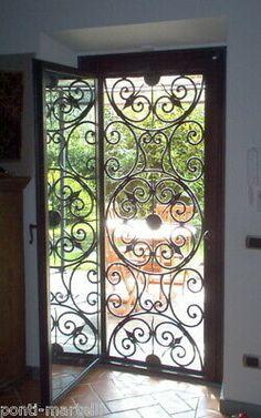 On French doors in rooms and living room Wrought Iron Decor, Wrought Iron Gates, Iron Front Door, Iron Doors, Front Door Design, Fence Design, Porta Colonial, Iron Gate Design, Garden Doors