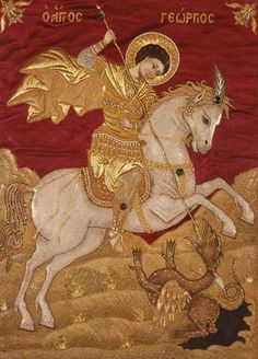 """""""Saint George is England's patron saint, is he not? The saint chosen by Richard the Lionheart?"""" This pic - Saint George - Wikipedia. Religious Icons, Religious Art, St Georg, Saint George And The Dragon, Google Art Project, Saint Georges, Christian Artwork, Byzantine Icons, Dragon Slayer"""