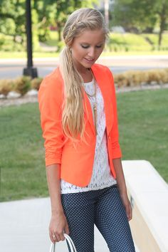 Bright neon in the summer? Yes, please! Blogger BFF @Life with Lyss shows off her summer brights with a neon orange blazer in her #OOTD http://www.charlotterusse.com/product/Clothes/Outerwear/Blazers/entity/pc/2114/c/2629/sc/2630/264157.uts?colorCode=301643271_833