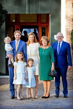 Dutch Prince Floris, Princess Aimee, Princess Margriet, Pieter van Vollenhoven (R), Eliana (front R), Magali (front L) and Willem Jan attend the christening of Willem Jan at Palace het Loo in Apeldoorn, The Netherlands, 09.11.2014.