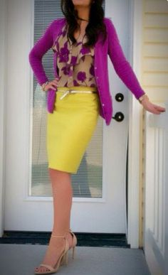 Fuschia Purple Cardigan Floral Shirt Yellow Pencil Skirt Nude Strappy Heels Business Casual