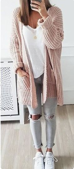 #winter #outfits brown knitted cardigan