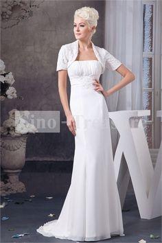 White Sheath/ Column Strapless Brush/ Sweep Train Wedding Dress