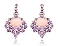 Oro giallo , diamanti, opale rosa e ametiste.