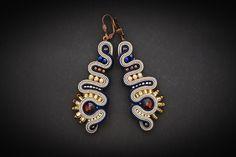 Soutache earrings with Swarovski crystal by AnnaZukowska on Etsy