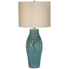 Kathy Ireland Nalu Blue Ceramic Table Lamp - #8D350 | www.lampsplus.com