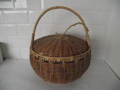 Vintage Large Lidded Wicker Basket - Would Make A Perfect Sewing Basket. £25.00, via Etsy.