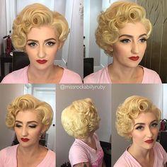 Elegant Retro Hairstyles 2019 – Vintage Hairstyles for Women - Beauty New Blond Hairstyles, Retro Hairstyles, Wedding Hairstyles, Style Rockabilly, Rockabilly Hair, Pin Up Hair, Big Hair, Wig Styles, Curly Hair Styles