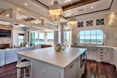 white coastal kitchen with gulf view