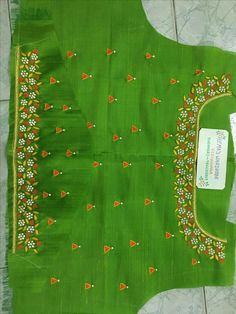 For customising your outfits - whatsapp 9133502232 Kids Blouse Designs, Bridal Blouse Designs, Blouse Neck Designs, Kurta Designs, Kurti Embroidery Design, Embroidery Works, Mirror Work Blouse, Kids Frocks Design, Maggam Work Designs