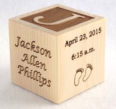 Baby Block Baby Keepsake Block Personalized by PalmettoWoodShopLLC