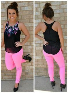 Black and pink top with pink pants so cute love this outfit