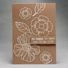 Radom stamping can be used to focus on different (big) images. If you keep your color scheme simple your card does not get too messy. But I've seen some cards with beautiful randomly stamped flowers in different colors. It may work if you keep a balance! I embossed some images and added a border with a grey marker to make them stand out a bit more.