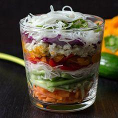 Spring Roll Salad in a Jar http://www.prevention.com/eatclean/spring-roll-bowl-recipes/slide/5