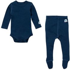 Ella's Wool Soft Merino Wool Baby Base Layer Set (Navy Blue)