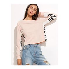 Pink Contrast Letter Print Panel Crop Sweatshirt ($22) ❤ liked on Polyvore featuring tops, hoodies, sweatshirts, pink, long sleeve pullover, color-block sweatshirt, pink crop top, long sleeve tops and pink top
