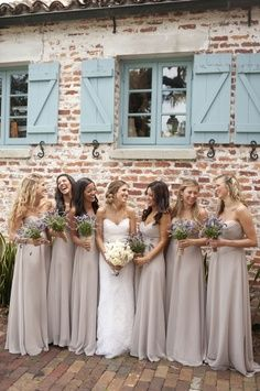 All bridesmaids will have beige maxi dresses in chiffon material! Also loving the lavender bouquets!