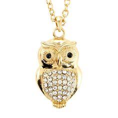 {Crystal Owl Necklace} glitzy owl!