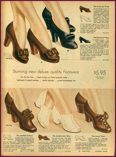 Sears of from NewVintageLady: Catalog Sunday 1940s Shoes, Retro Shoes, Vintage Shoes, Vintage Outfits, Vintage Clothing, Fashion Moda, 1940s Fashion, Vintage Fashion, Vintage Style
