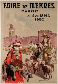 "Original Vintage French Travel Poster ""Faire de Mekres"" Marocco Orientalism 1930 #Vintage"
