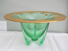 Duncan Miller Art Deco Rocket Bowl Vase Original Lotus 22K Gold Decorated Label | eBay