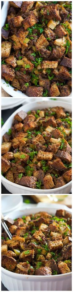 Caramelized Onion, Apple and Sausage Stuffing - This Caramelized Onion, Apple and Sausage Whole Grain Stuffing is a sweet and savory, flavor-packed stuffing your Thanksgiving table needs. Everyone will love the savory sausage, sweet apples and buttery caramelized onions.