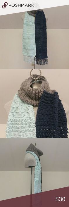 "Color Block Fringed Scarf Make a bold statement with this one-of-a-kind color block fringed scarf from Lana Green Designs, normally $45! Colors are light blue, navy blue and gray. Made from acrylic yarn, so it is machine washable and dryable on gentle settings. Super wide and long, it measures approximately 110""x12"". Also super soft! Comes from a smoke-free home. If you'd like to combine this with another item to lower shipping costs, I'll be happy to accomodate. Thanks for stopping in, and…"
