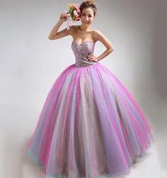 rainbow wedding ball gowns