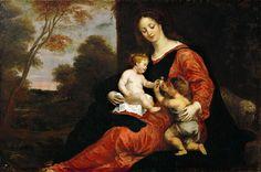 Герард Сегерс - Мадонна с младенцем и маленьким Иоанном Крестителем и щегол. Музей истории искусств