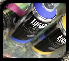 Liquitex. Professional spray paint, comes in a wide spectrum of colors like acrylic paints. woo hoo!