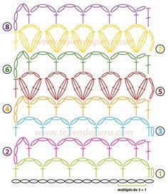 Captivating Crochet a Bodycon Dress Top Ideas. Dazzling Crochet a Bodycon Dress Top Ideas. Crotchet Patterns, Granny Square Crochet Pattern, Crochet Borders, Crochet Diagram, Crochet Chart, Crochet Squares, Crochet Stitches, Knitting Patterns, Punto Red Crochet
