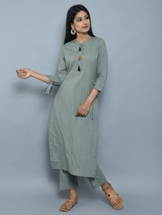 Olive Green Cotton Kurta with Multicolor Thread Tassels