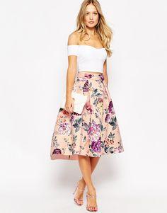 Image 1 ofASOS Premium Bonded Prom Skirt in Floral Print