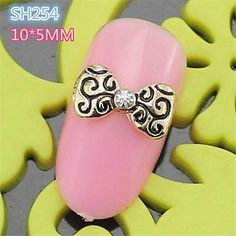 Kaifina 10PCS SH254 New Design 3D Lovely Bow Tie Rhinestone Alloy nail art DIY Butterfly Nail Decoration Nail Salon -- Click image for more details.