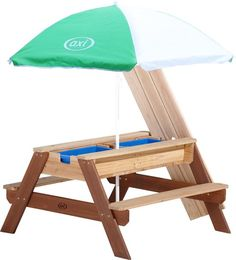 bol.com | AXI Nick Zand & Water Picknicktafel Bruin - Parasol Groen/wit - FSC Hout Outdoor Chairs, Outdoor Furniture, Outdoor Decor, Picnic Table, Parasol, Patio, Home Decor, Products, Kids Picnic Table