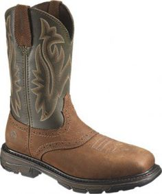 W10245 Wolverine Men's Javelina Safety Boots - Green/Brown www.bootbay.com