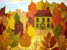 Výsledek obrázku pro kids craft domecek Autumn Crafts, Autumn Art, Nature Crafts, Art Drawings For Kids, Kids Artwork, Art For Kids, Arte Elemental, 4th Grade Art, Leaf Crafts