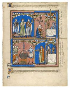 Hannah Honors her Vow; Recreant Priests Old Testament miniatures with Latin, Persian, and Judeo-Persian inscriptions France, Paris 1240s 390 x 300 mm MS M.638 (fol. 20r)
