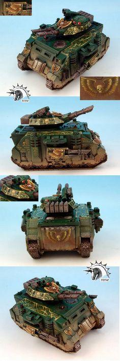 CoolMiniOrNot - Warhammer 40K Dark Angels Predator Tank by rene    Wow. That imperial aquilla is so beautiful.