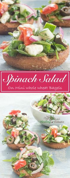 A very simple Greek spinach salad topped on whole wheat mini bagels. This is a healthy and delicious vegetarian lunch that you can eat anywhere