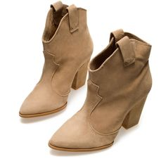 Zara Cowboy Ankle Boot ($40) ❤ liked on Polyvore featuring shoes, boots, ankle booties, zapatos, sapatos, booties, sand, leather bootie, leather ankle boots and western boots